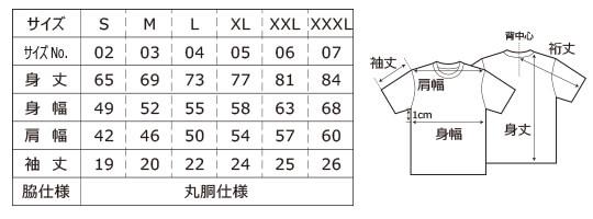 [5001] 5.6オンス ハイクオリティー Tシャツ【ユナイテッドアスレ】サイズ表